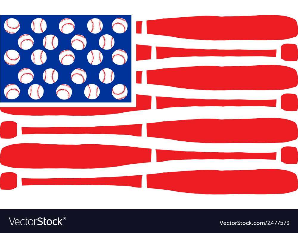 American flag made of bats and balls vector