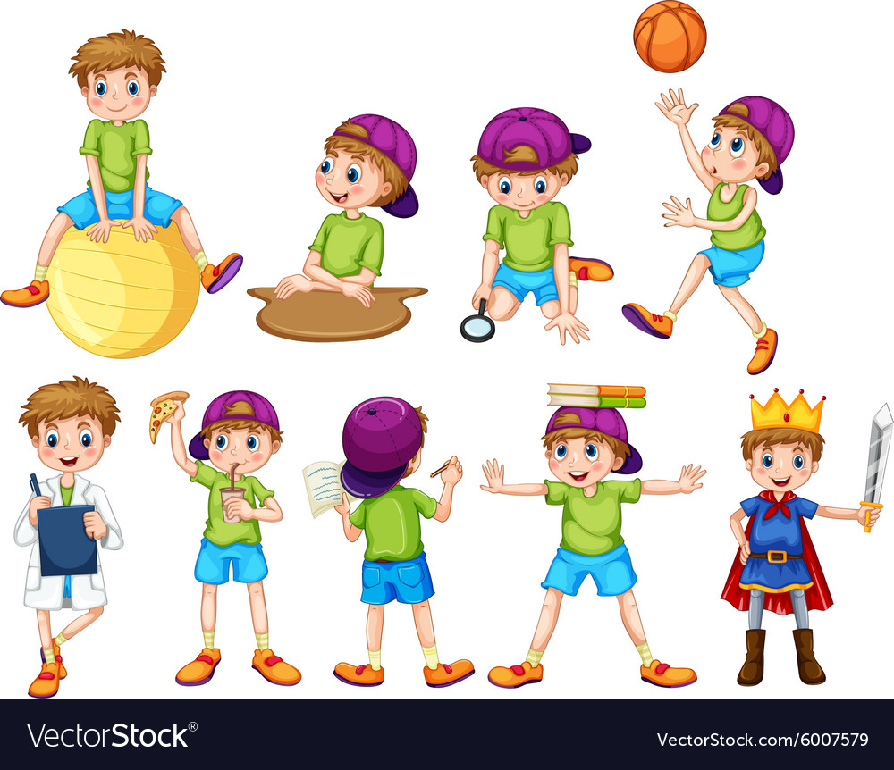 Boy doing different activities vector