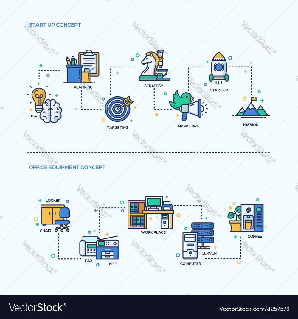 Start up office equipment business concept vector