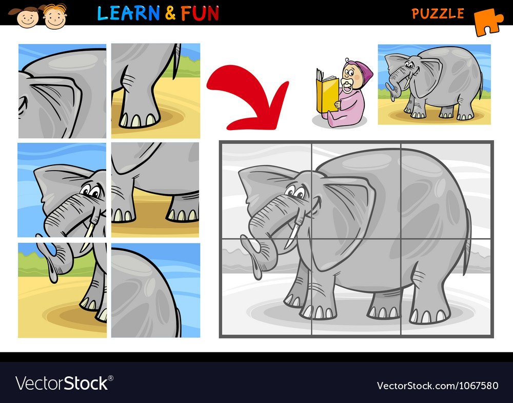 Cartoon elephant puzzle game vector
