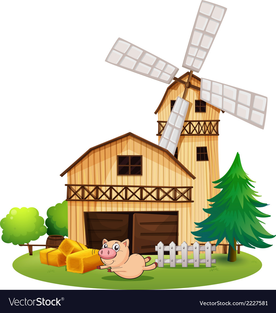 A wooden farmhouse with a playful pig vector