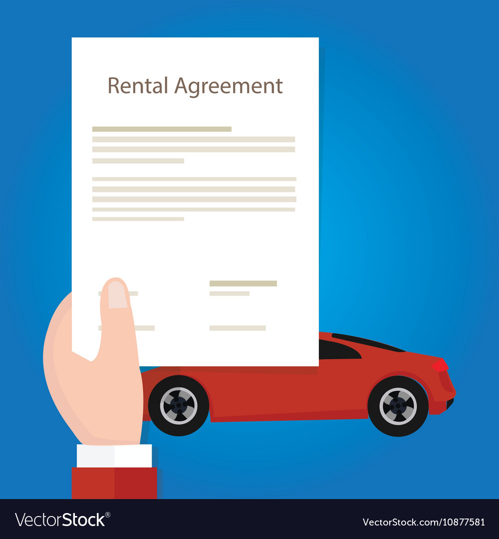 Rental agreement car hand holding document paper vector