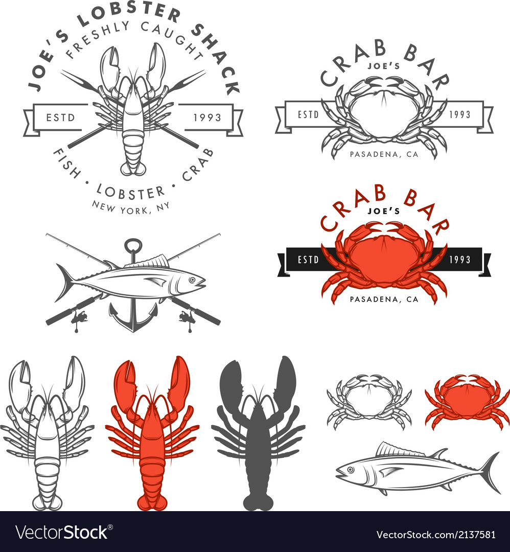 Set of retro seafood design elements vector