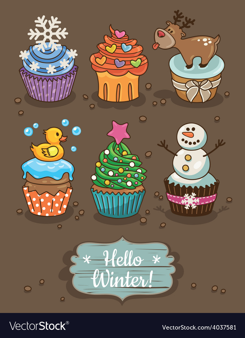 Set of winter cupcakes with different toppings vector