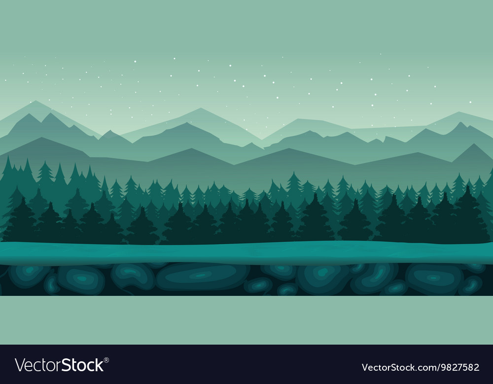Seamless cartoon nature landscape with 2d game vector