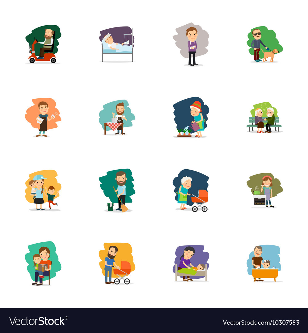 Different people characters icons set vector