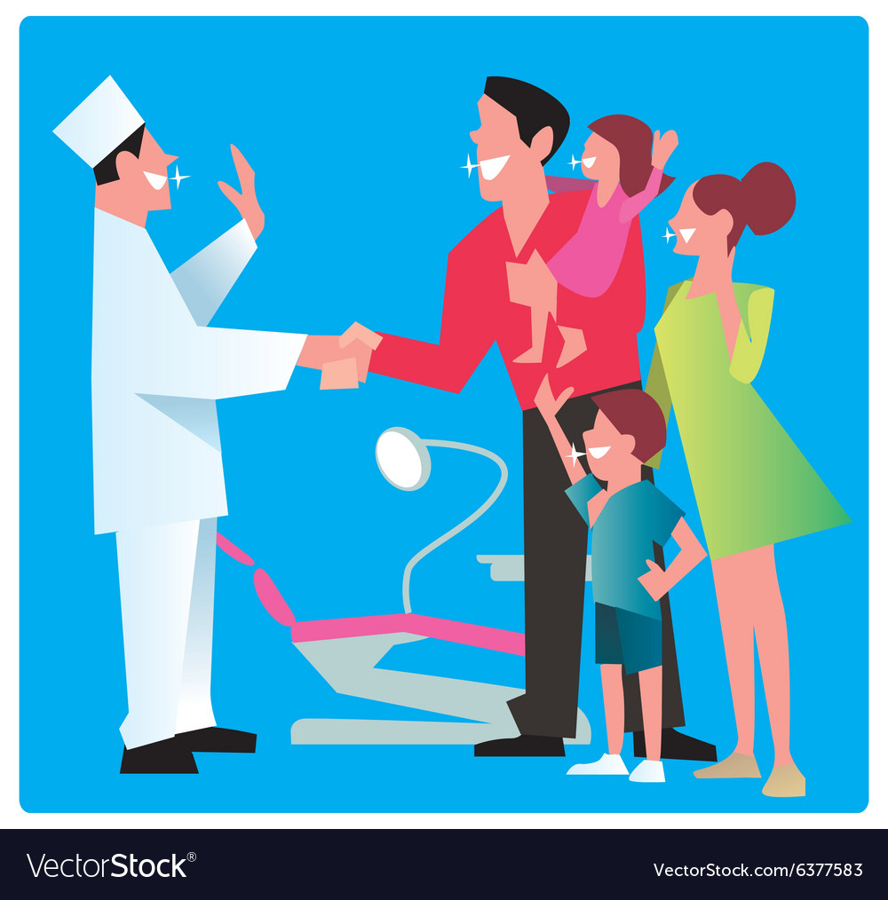 Happy family thanks dentist vector