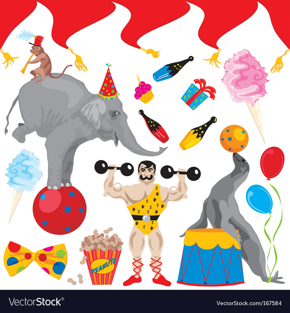 Birthday circus acts vector