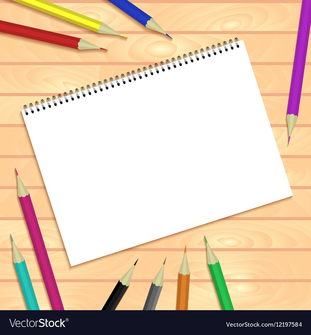 Spiral bound notepads and pen template or vector