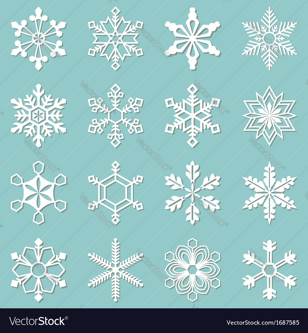 Collection of 16 different snowflakes vector
