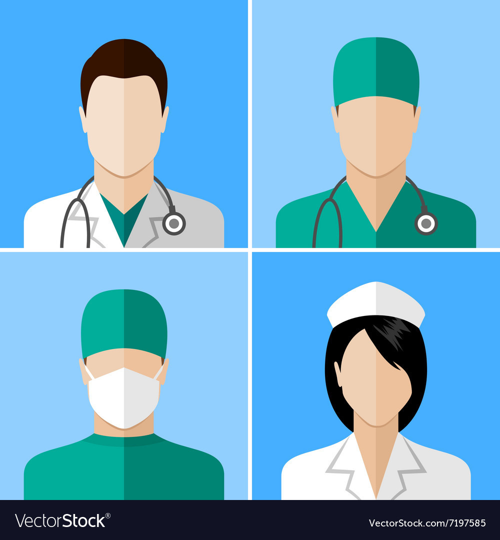 Doctor and nurse icons vector