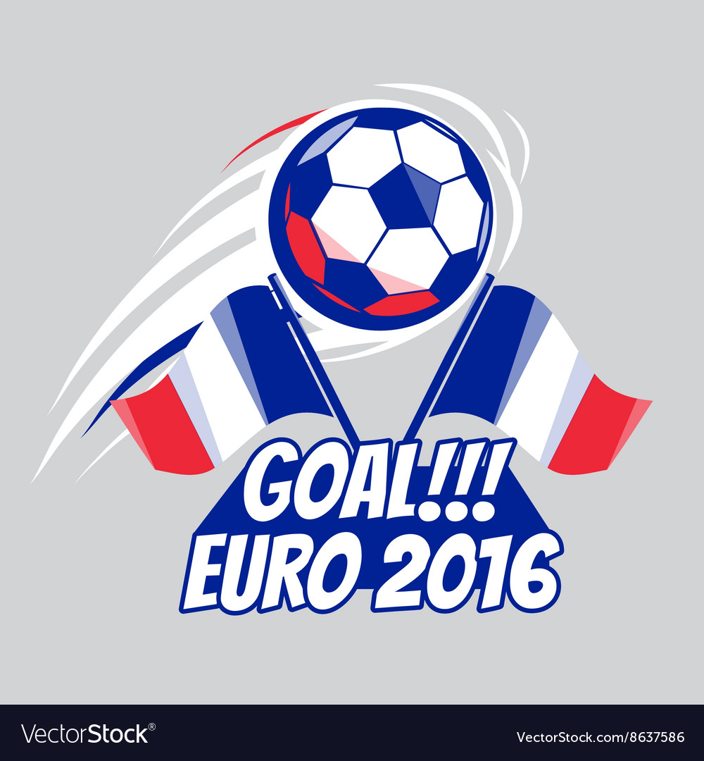 Football poster with ball euro 2016 france vector