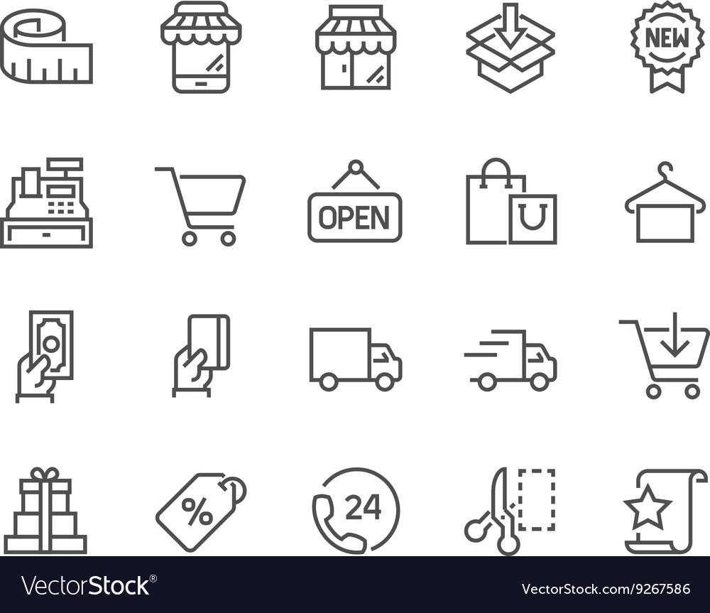 Line shopping icons vector