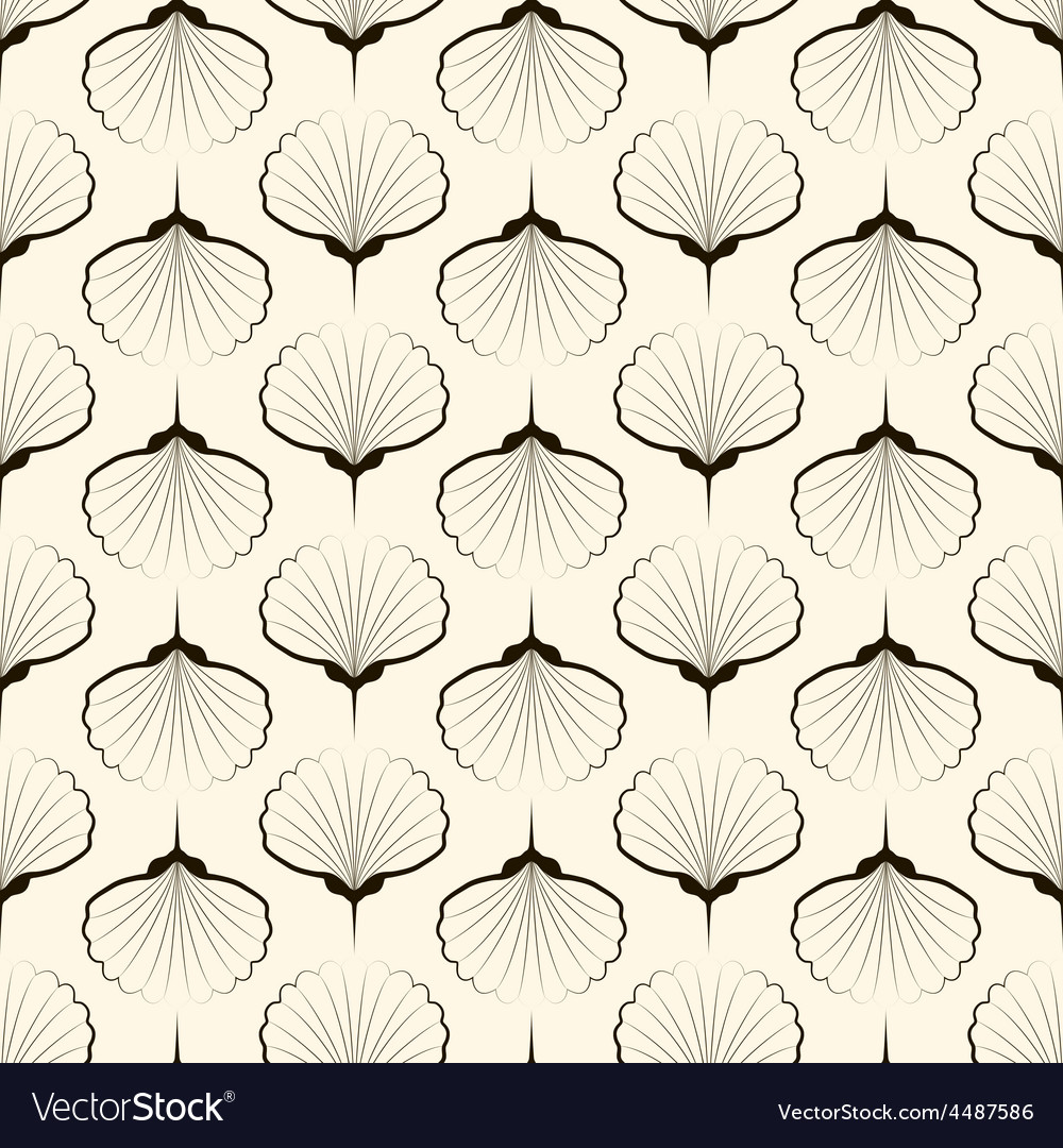 Seamless pattern graphic ornament sea shells vector
