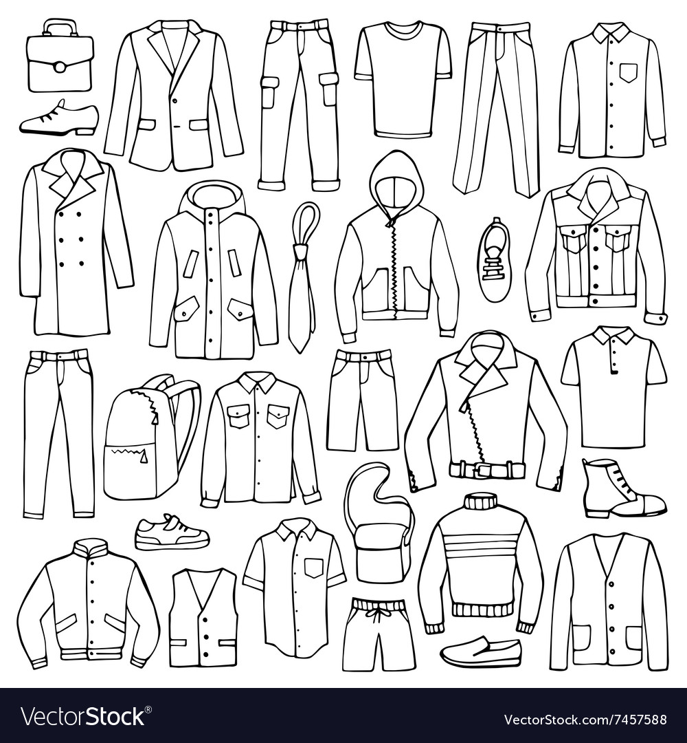 Hand drawn doodle set with man clothes vector
