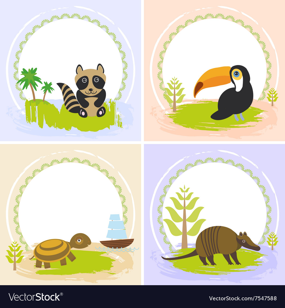 Toucan bird raccoon turtle armadillo set of vector
