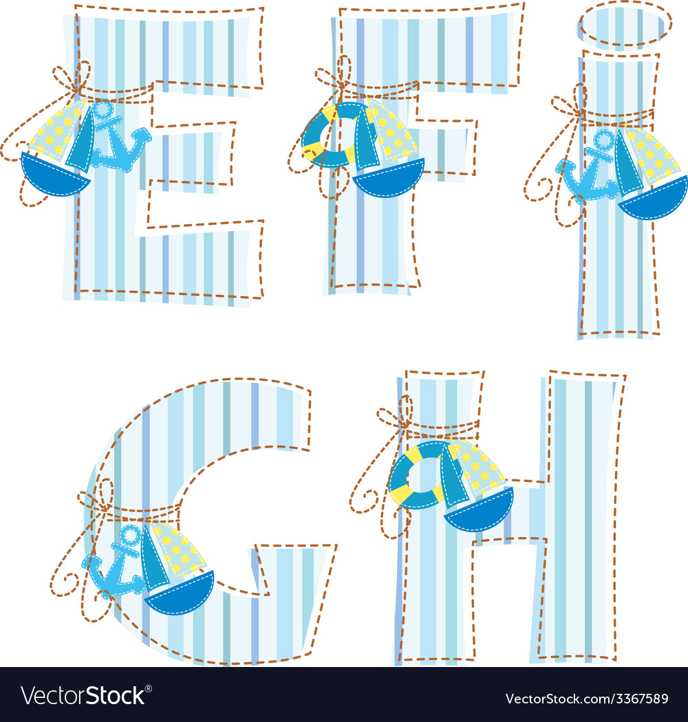 Fabric patchwork alhabet letter e f g h i vector