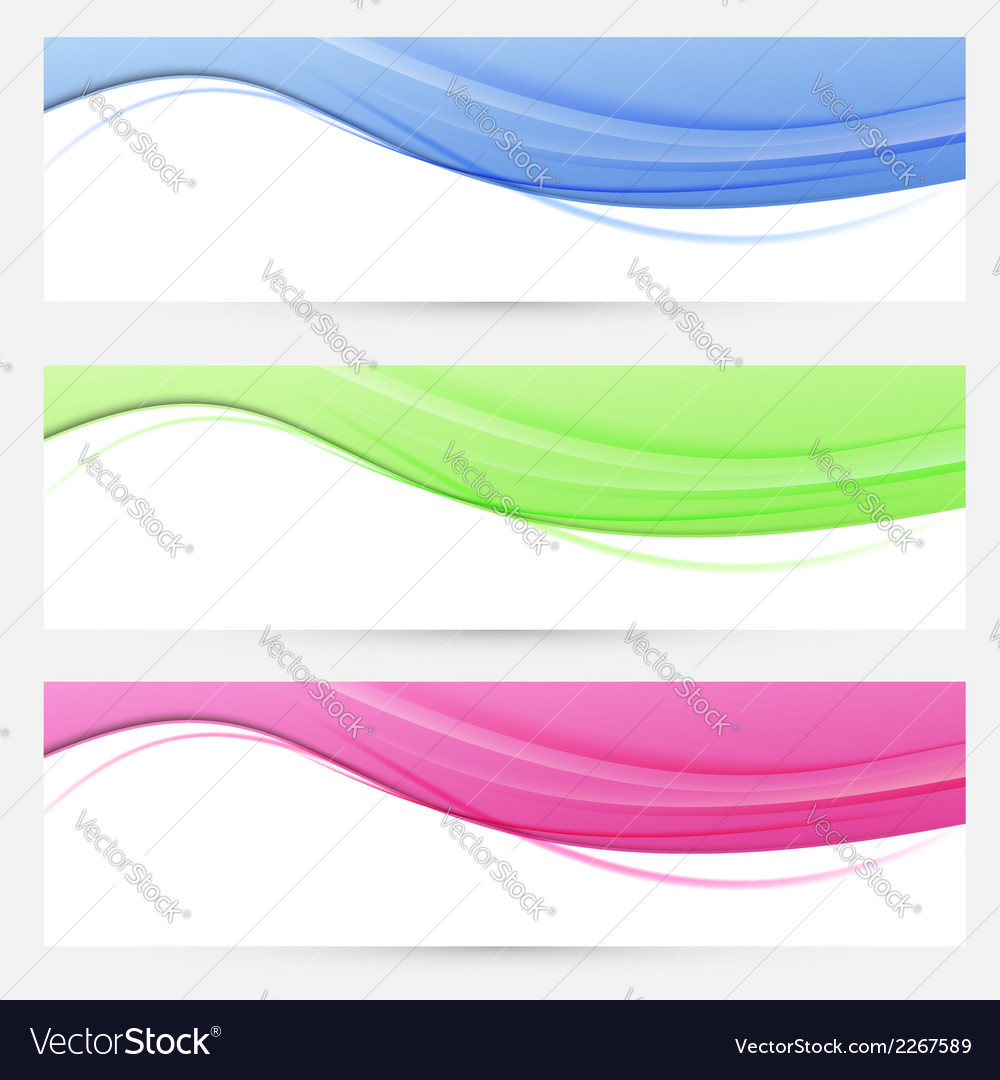Three bright headers swoosh collection vector