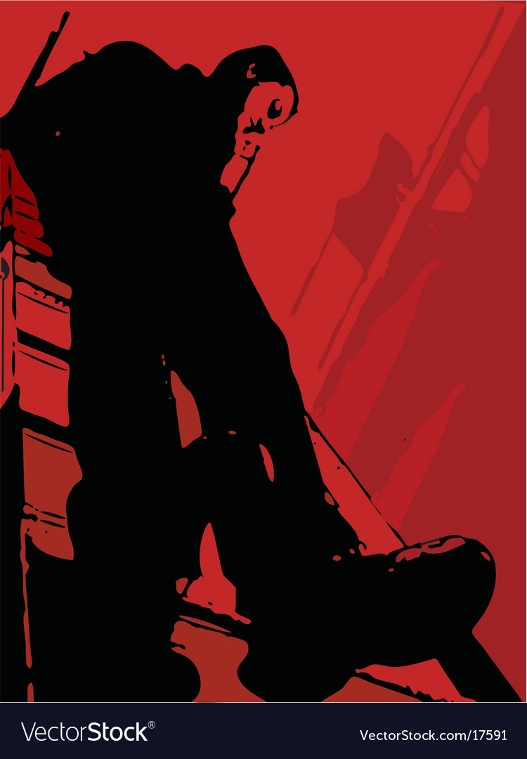 Man on a ladder vector