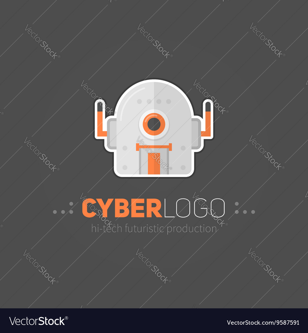 Robot head logotype in flatstyle vector