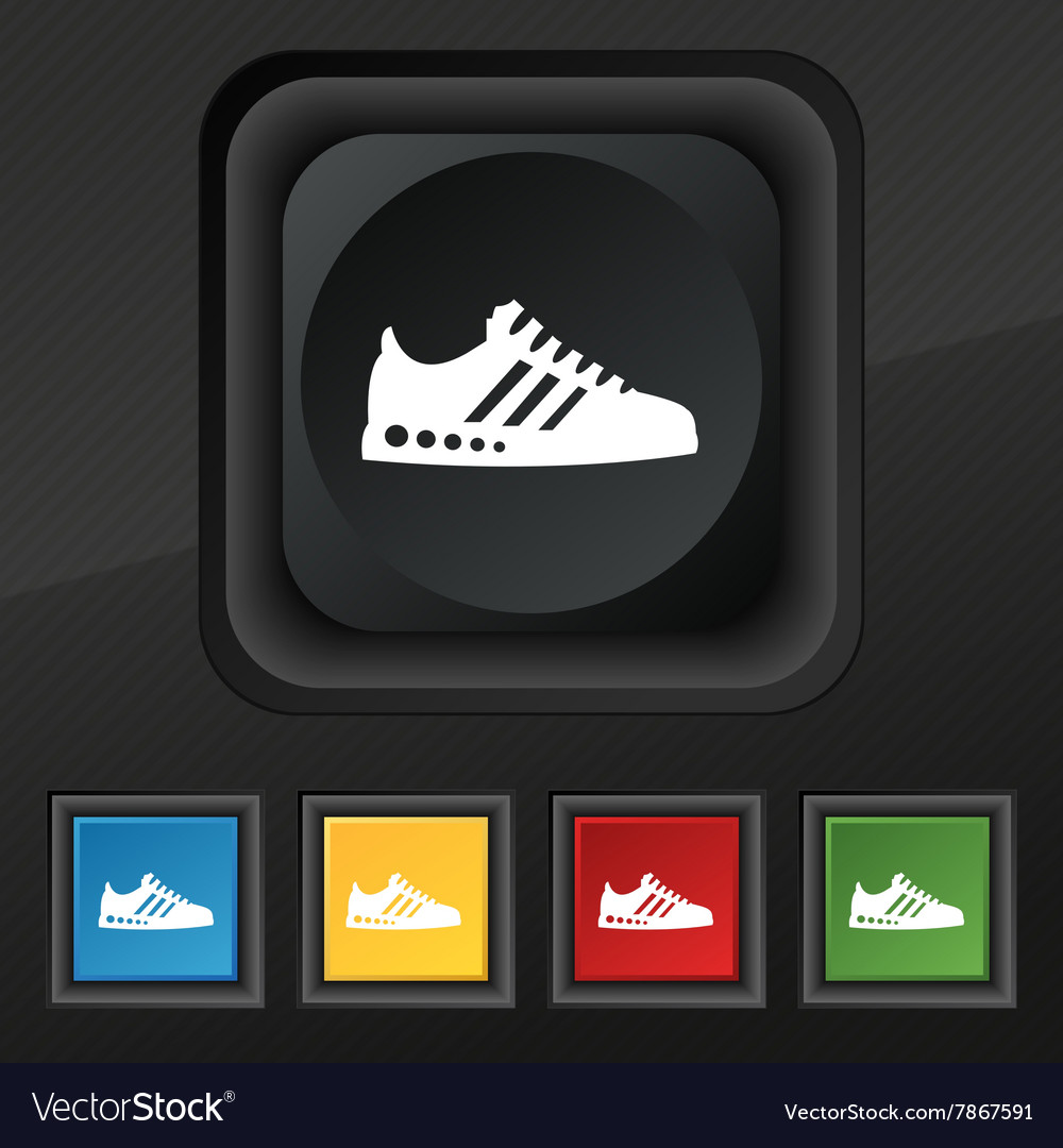 Sneakers icon symbol set of five colorful stylish vector