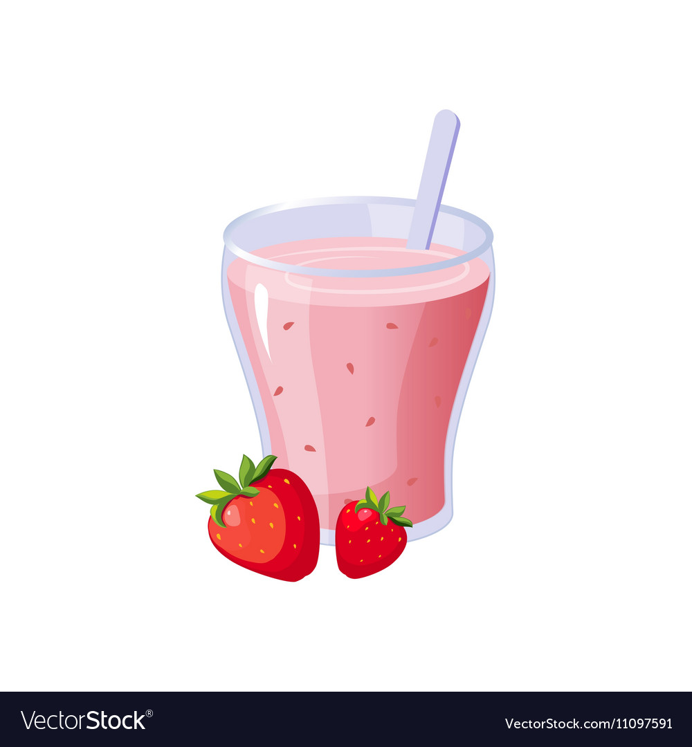 Strawberry smoothie breakfast food element vector