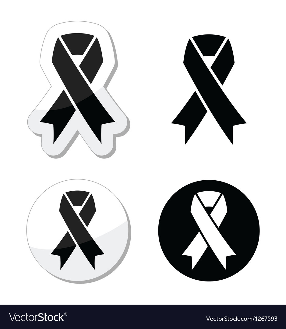 Black ribbon  mourning death melanoma symbol vector