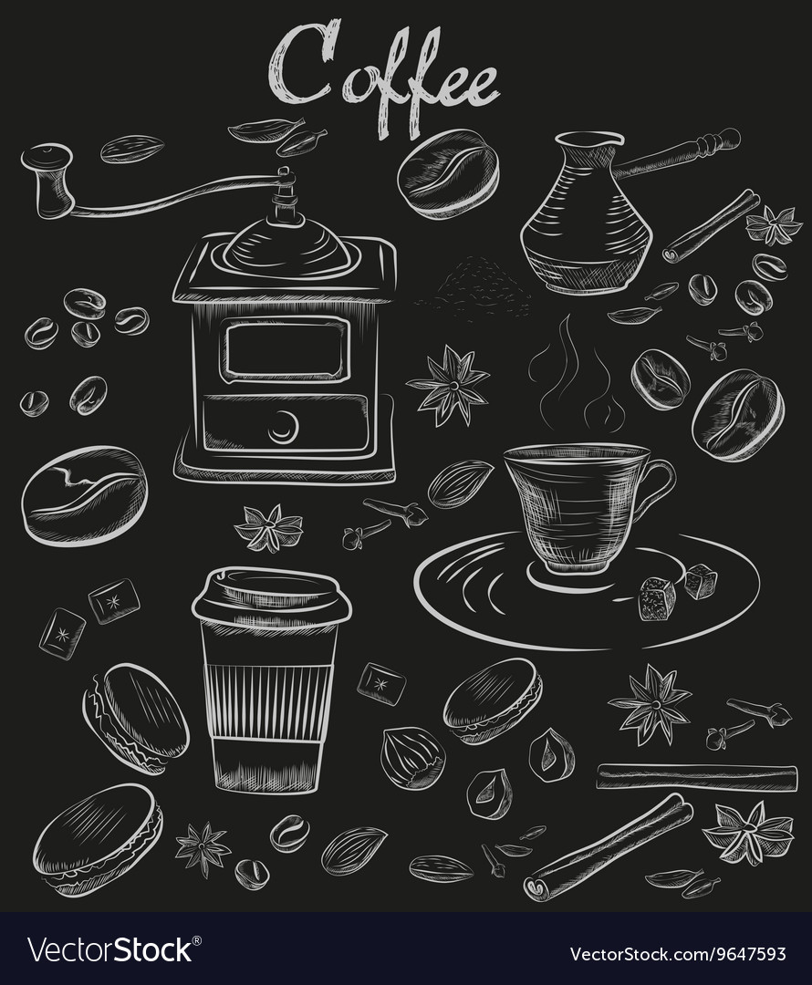 Handdrawn chalk blackboard decorative coffee vector