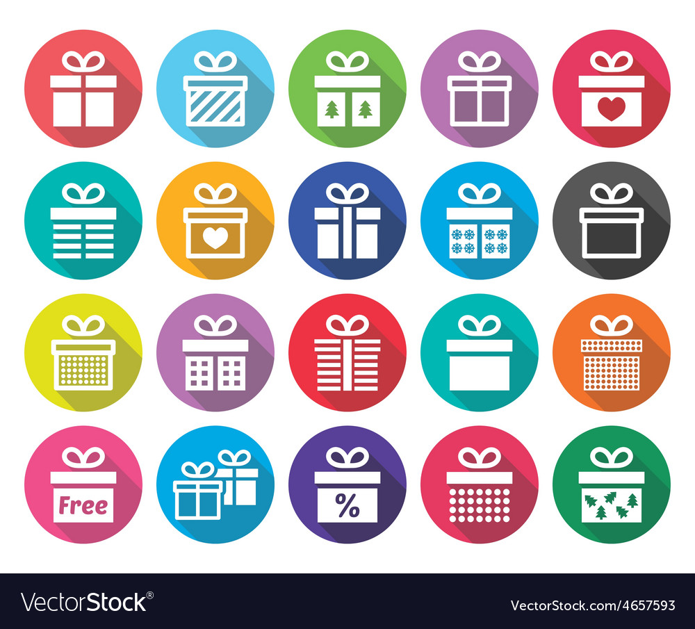 Present gift box flat design icons set vector
