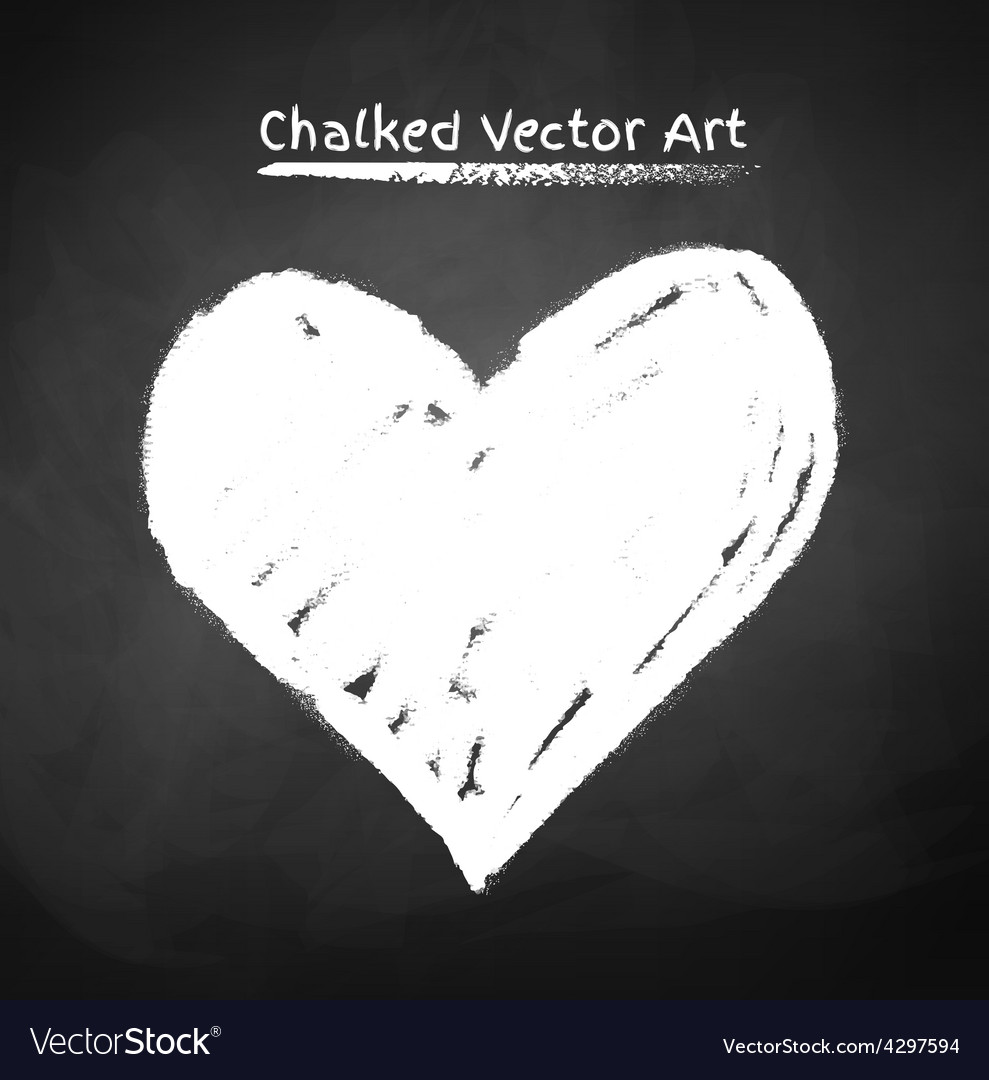 Chalked heart vector