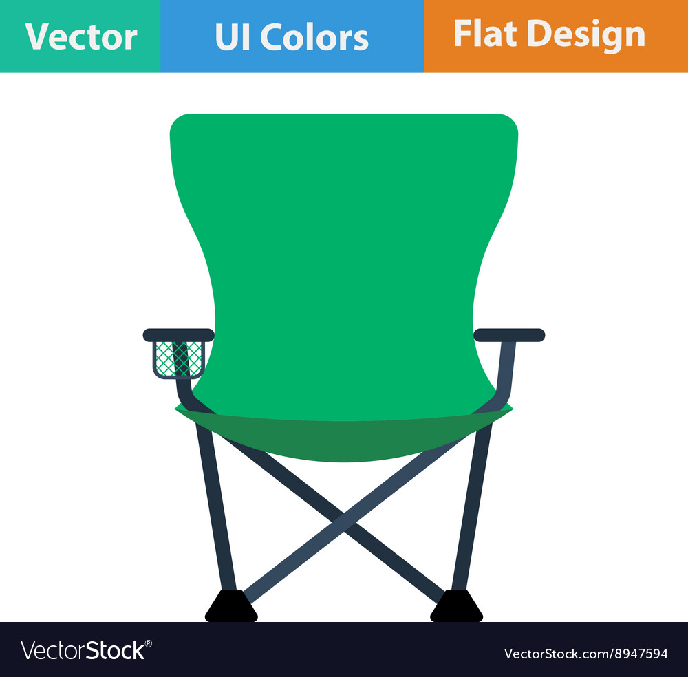 Flat design icon of fishing folding chair vector