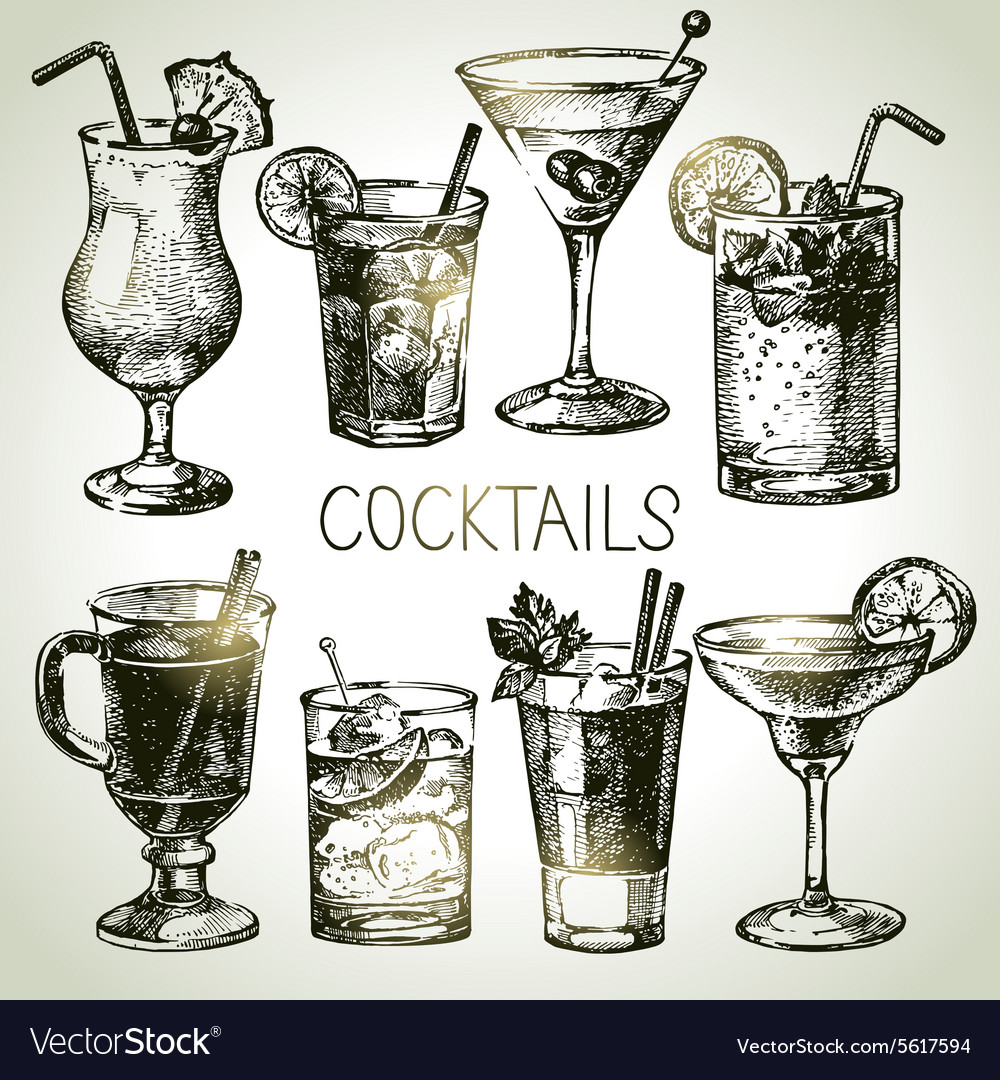 Hand drawn sketch set of alcoholic cocktails vector