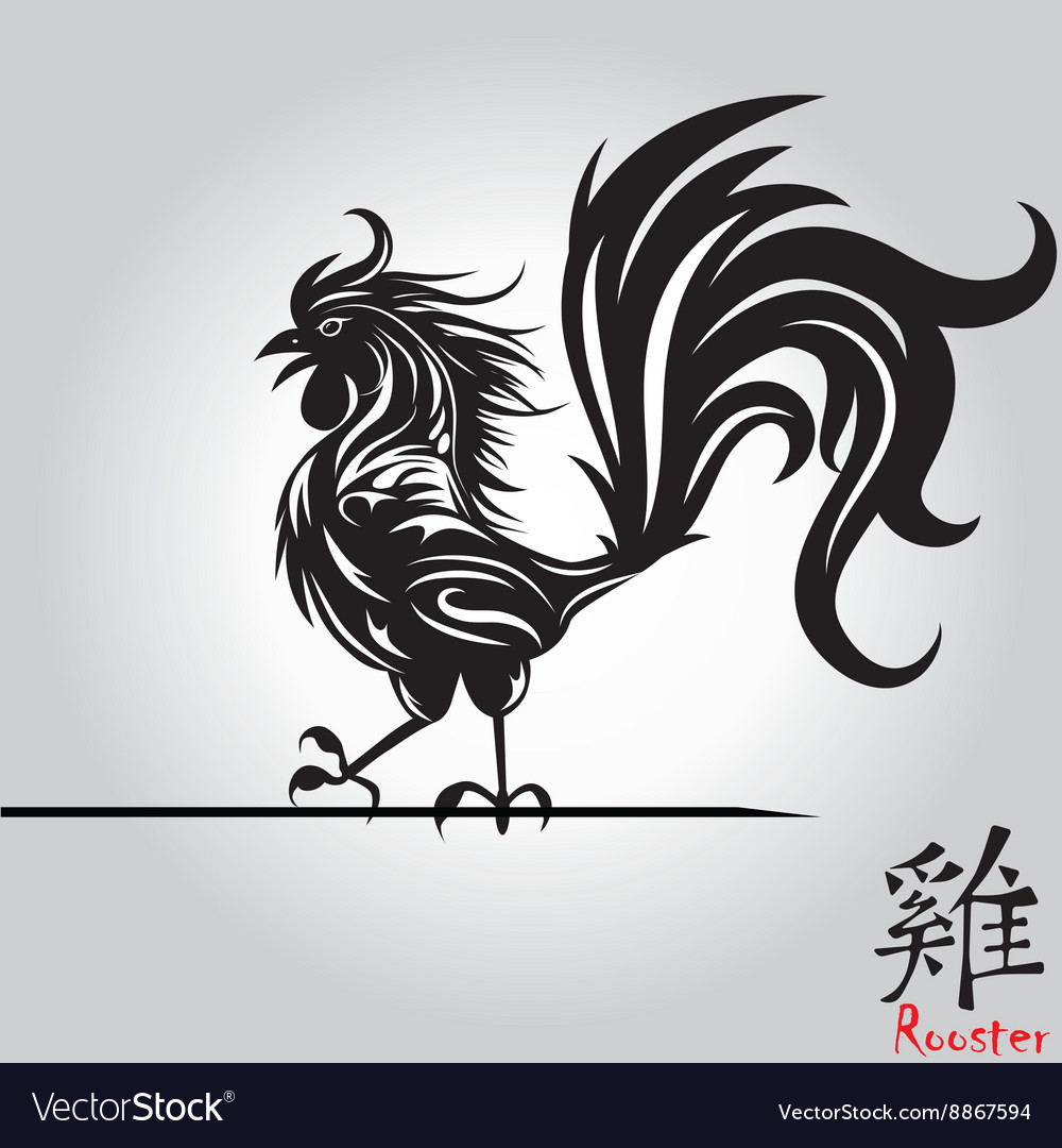 Rooster bird tattoo of chinese new year rooster vector