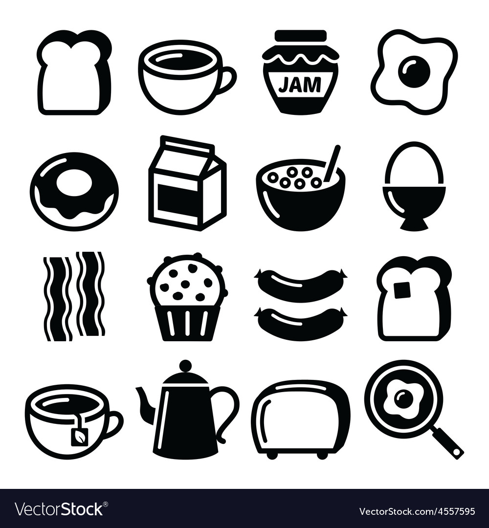 Breakfast food icons set  toast eggs vector