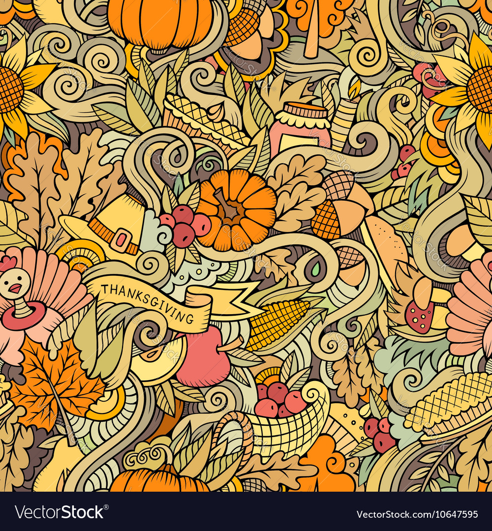 Cartoon cute doodles hand drawn thanksgiving vector
