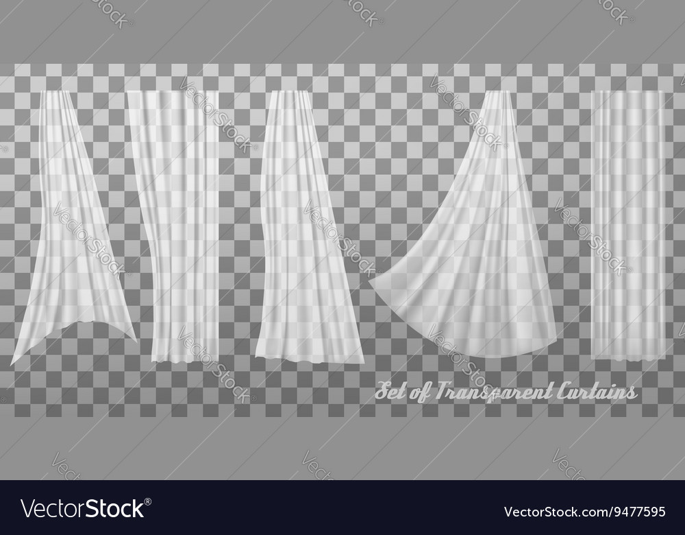 Collection of transparent curtains vector