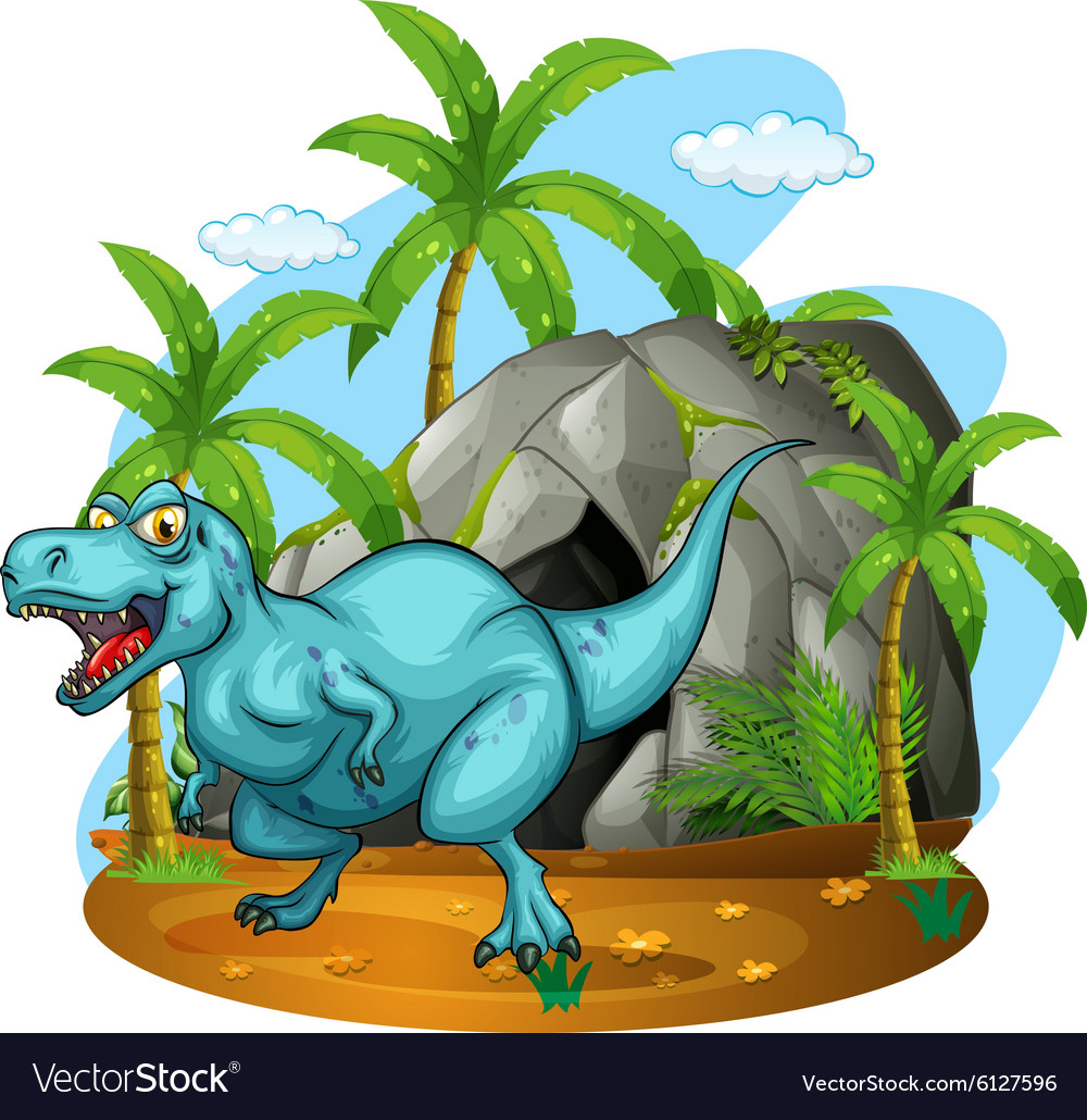 Dinosaur living in the cave vector