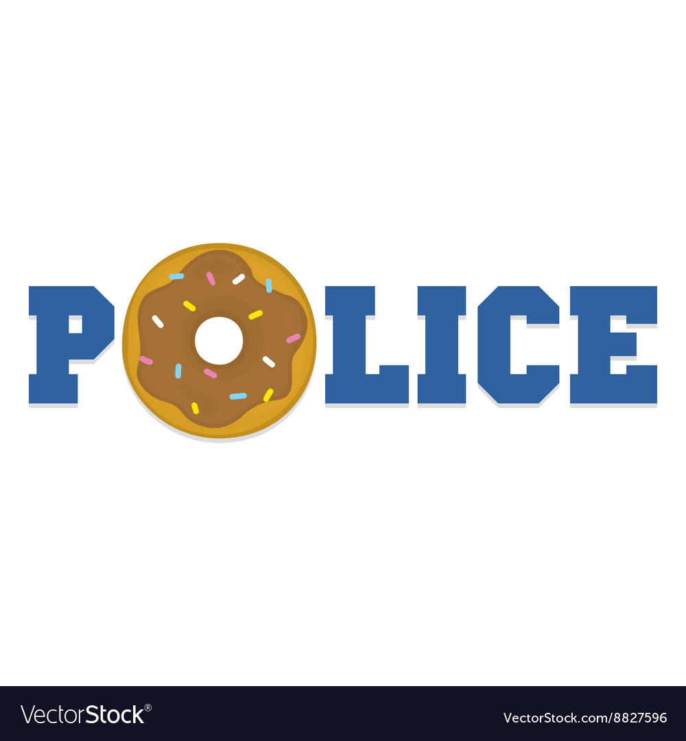 Donut police cartoon funny isolated vector