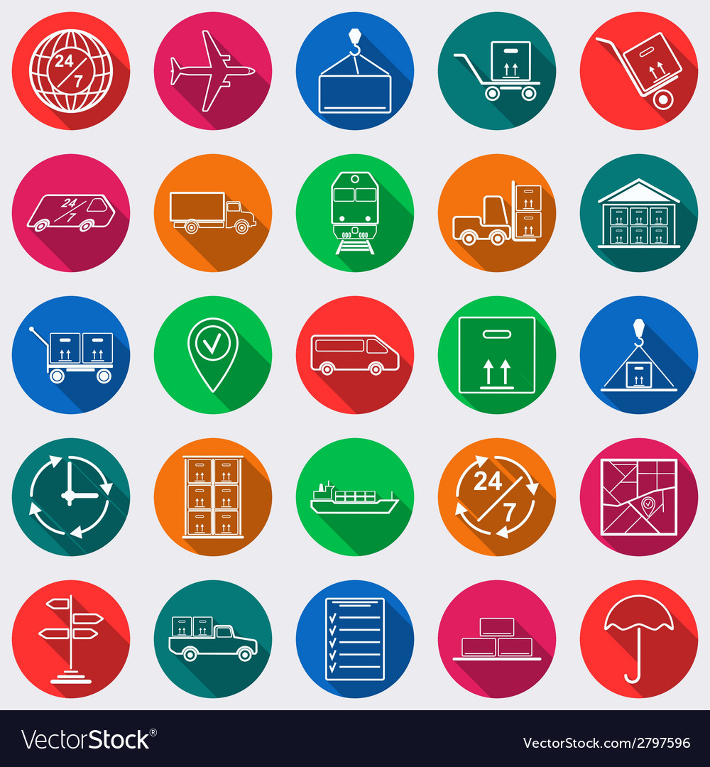 Logistics flat icons vector