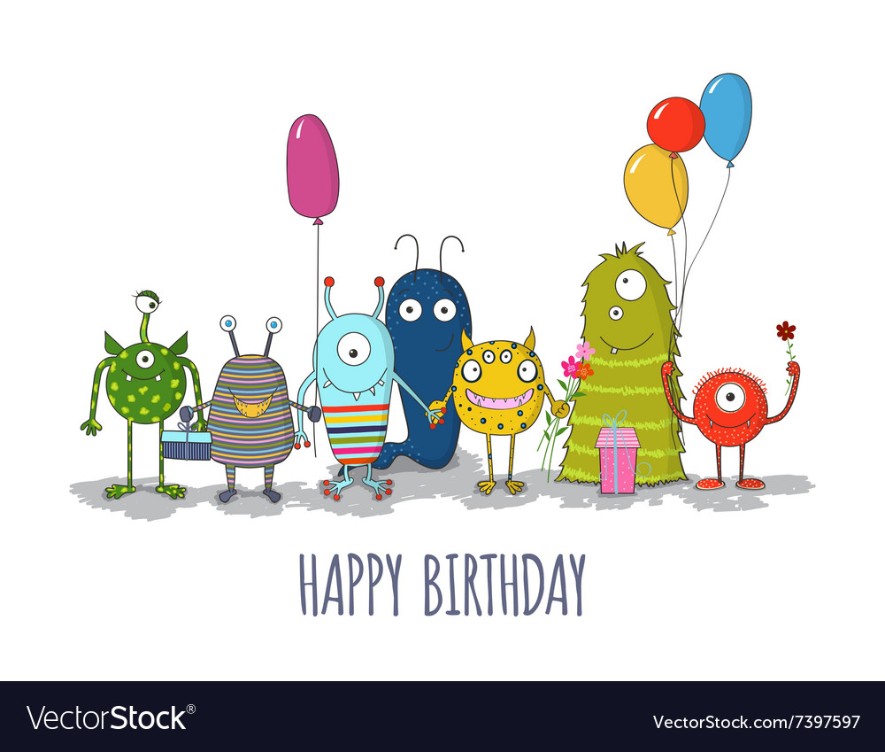 Cute colorful monsters happy birthday card eps10 vector