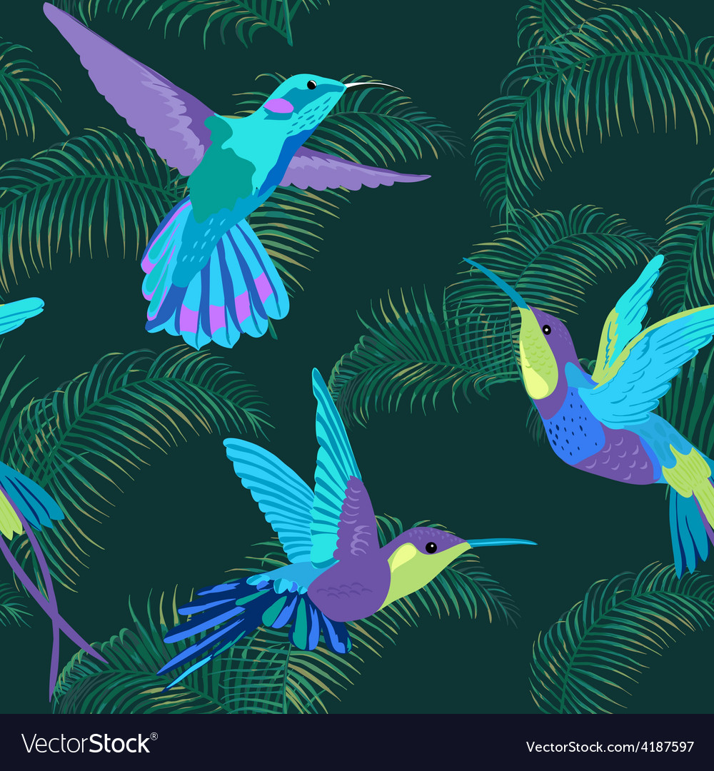 Hummingbird background  retro seamless pattern vector