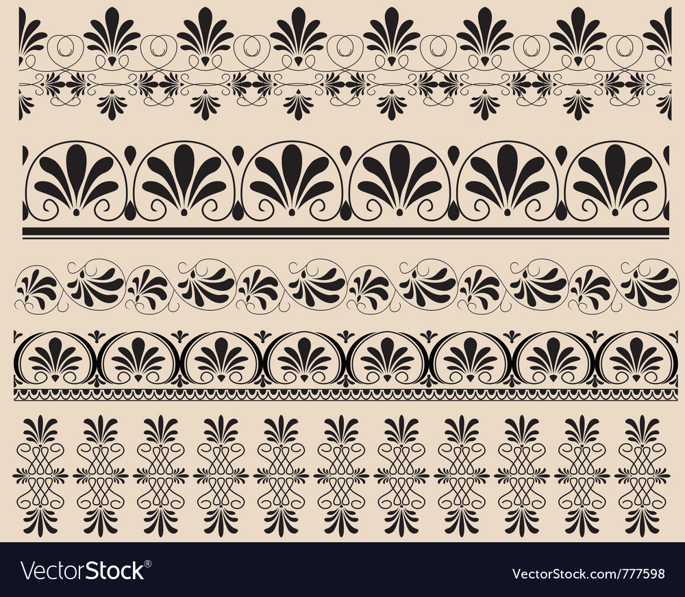 Ancient greek ornament set vector