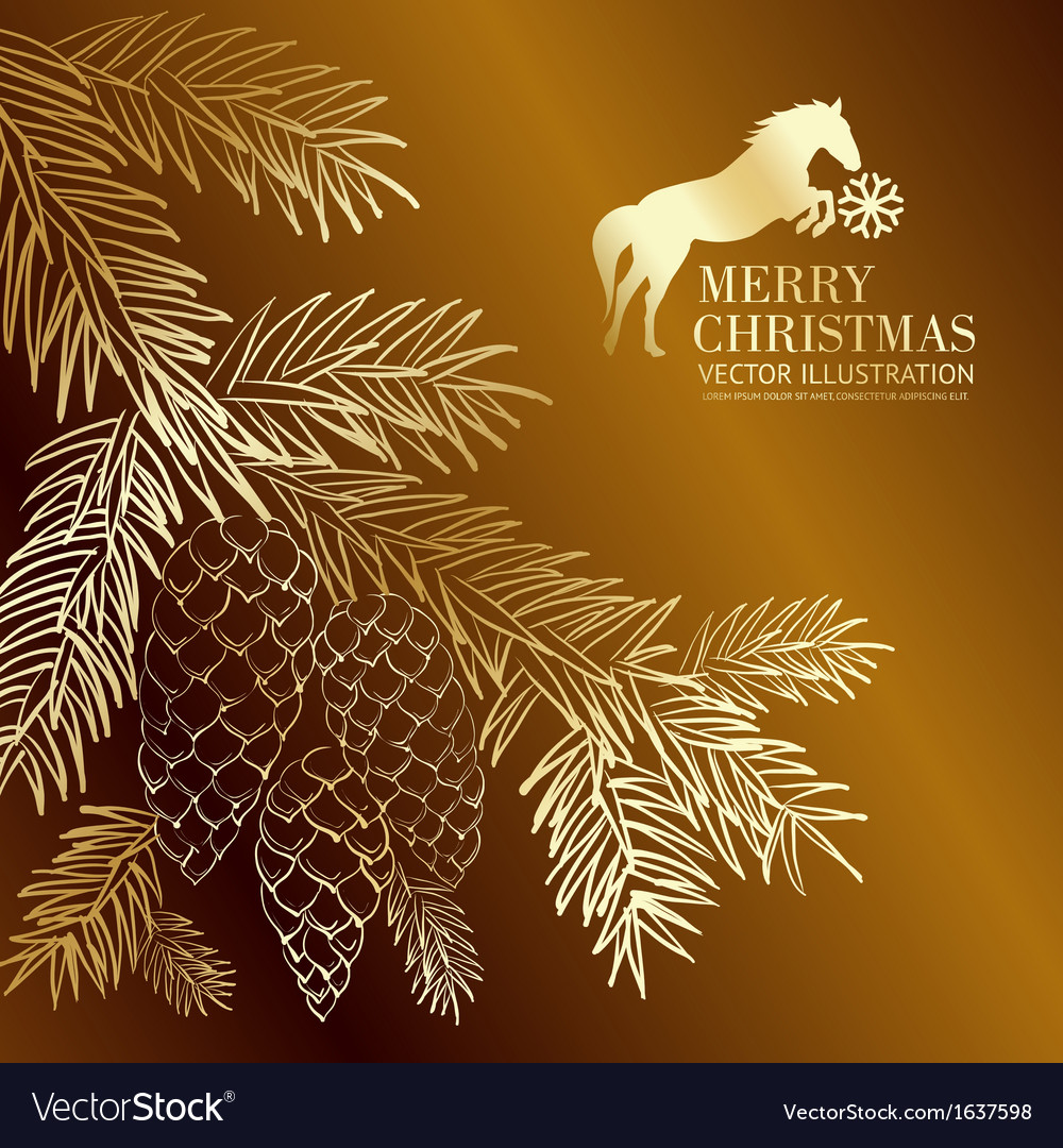 Gold christmas fir and pinecone vector