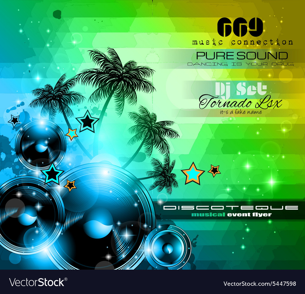 Music themed background for disco club flyers vector