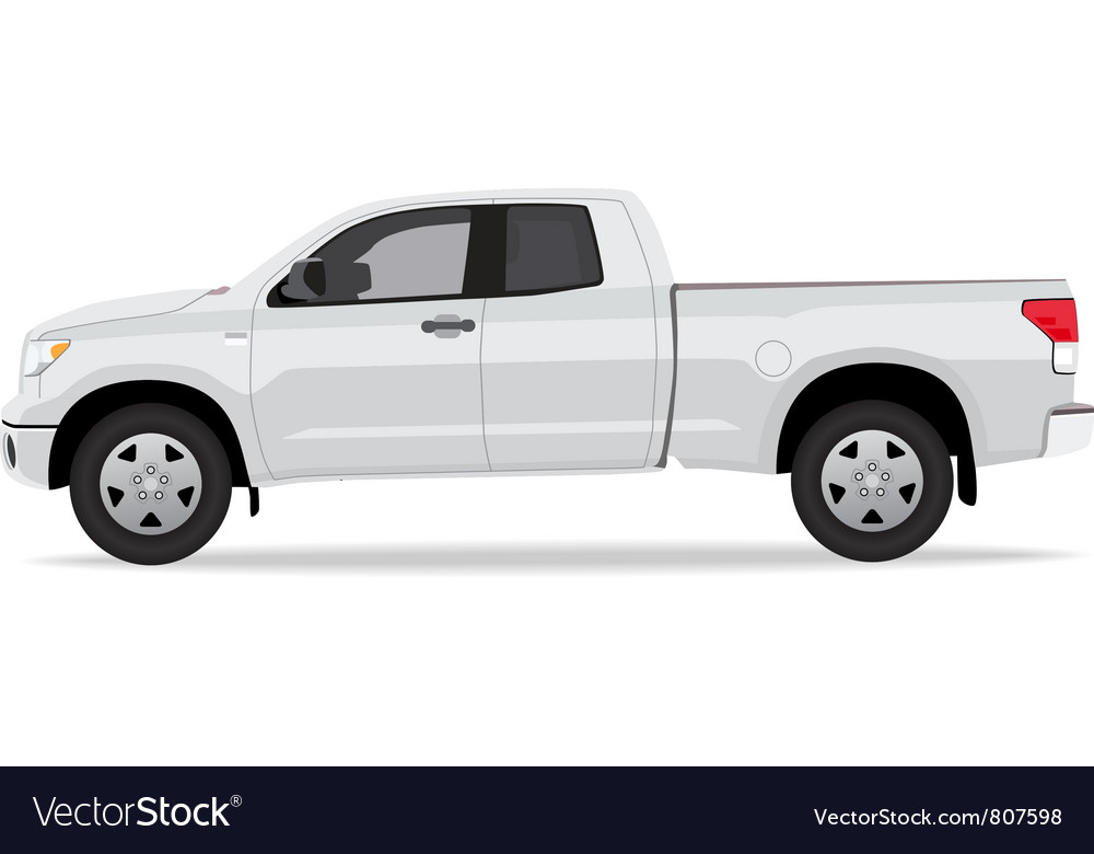 Pickup truck side view vector