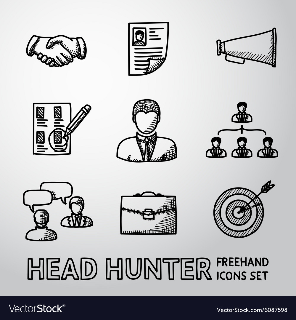 Set of handdrawn head hunter icons  handshake vector