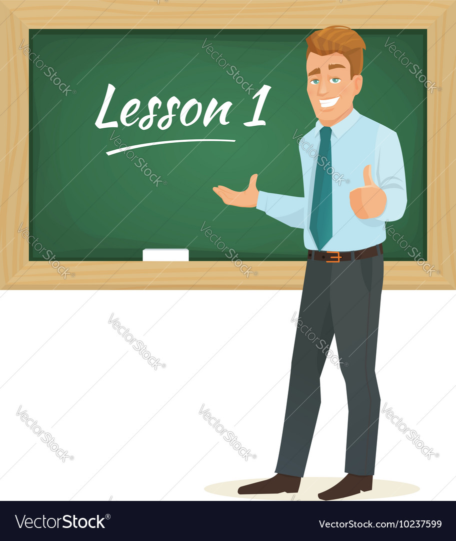 Male teacher standing at the blackboard vector