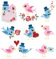 bird valentine set vector image vector image