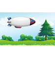 An airship above the hills vector image vector image
