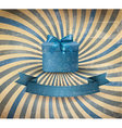 Holiday background with blue gift ribbon with gift vector image vector image